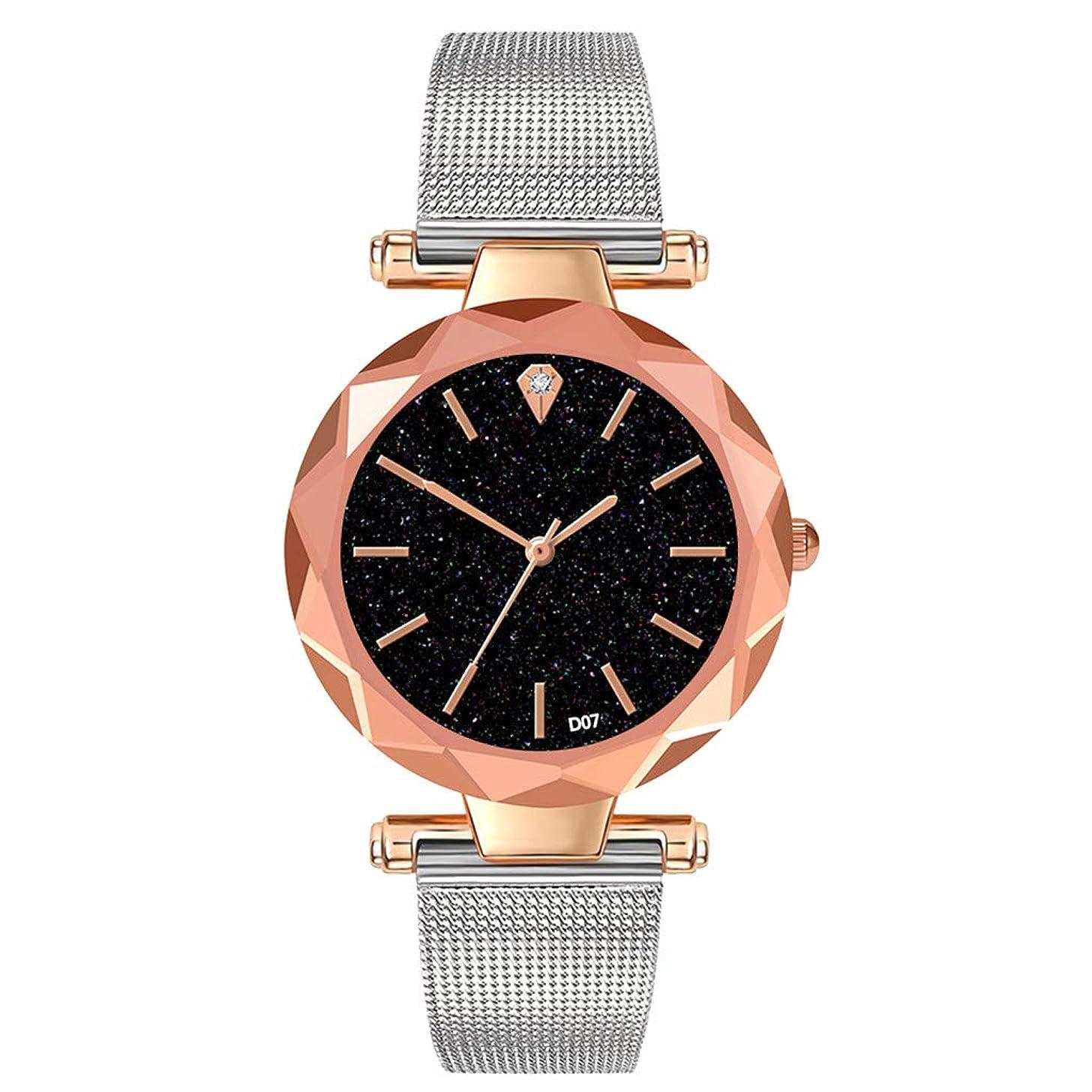 LUCAMORE Fashion Women's Quartz Watches On Sale Starry Dial Buckle Mesh Strap Elegant Wristwatch