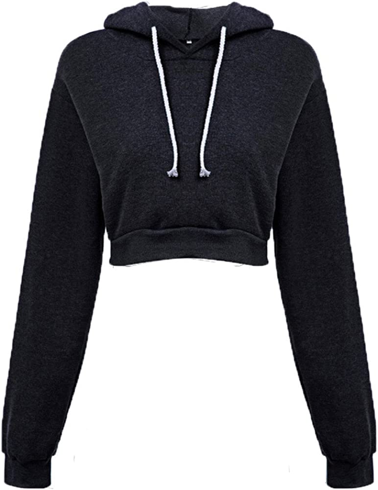 Women's Casual Hooded Pullover Long Sleeve Solid Color Crop Sweatshirt Brief Paragraph Tops