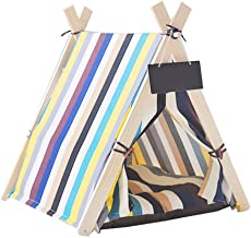 Portátil Interior Gato Nido Perrera Triángulo Tienda Lavable Suministros para Mascotas Estera Pequeña Pizarra Color Franja Color Mascota Tienda Decorativa Mosquitera