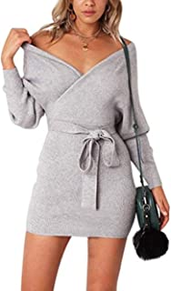 Womens Sweater Dresses Sexy V Neck Backless Long Batwing Sleeves Mini Bodycon Dress