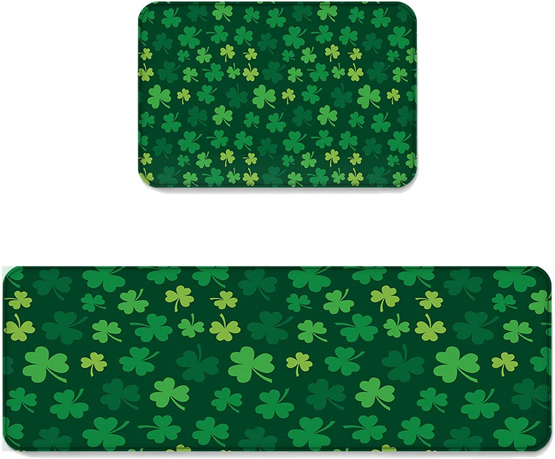 Fantasy Star Kitchen Rug Sets 2 Piece Floor Mats Non-Slip Rubber Backing Area Rugs Dark Green Shamrocks Pattern Doormat Washable Carpet Inside Door Mat Pad Sets (23.6  x 35.4 +23.6  x 70.9 )