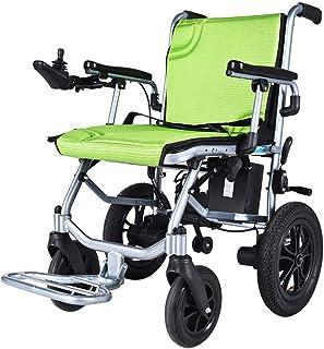 CHHD Sillas de Ruedas eléctricas Plegables, Silla de Ruedas eléctrica, luz Inteligente Totalmente automática Plegable Scooter Antiguo de Cuatro Ruedas con discapacidad, Verde