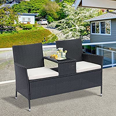 Outsunny-2-Seater-Rattan-Campanion-Chair-Wicker-Loveseat-Outdoor-Patio-Armchair-with-Drink-Table-Garden-Furniture-Black