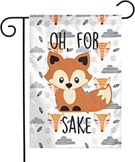 Scandinavian Fox Pattern Garden Flags House Indoor & Outdoor Holiday Decorations,Waterproof Polyester Yard Decorative for Game Family Party Banner