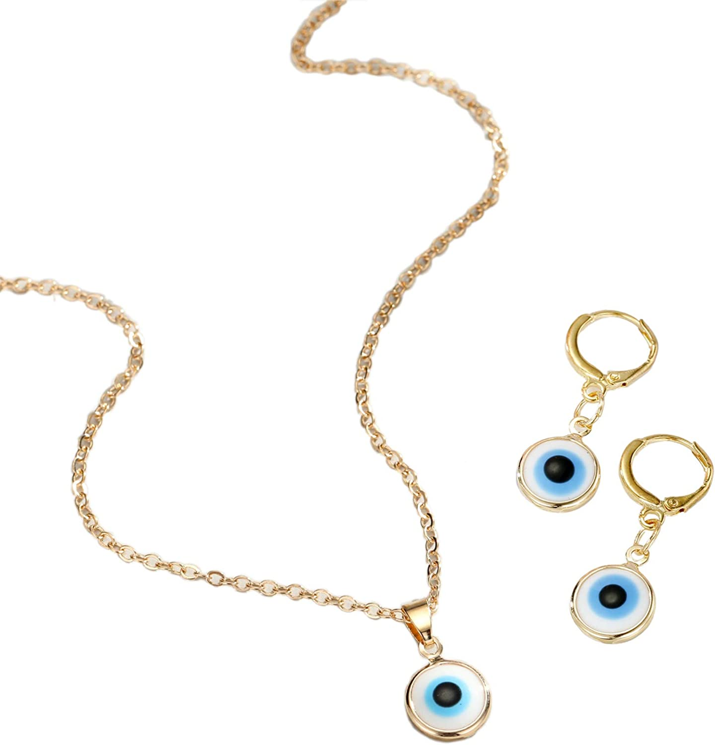 3 Pcs Evil Eye Necklace Dangle Earrings Set Chain Charm Blue Eyes Amulet Pendant Necklace Ojo Turco Kabbalah Protection Drop Earrings Adjustable Collar Necklace Delicate Jewelry Gift