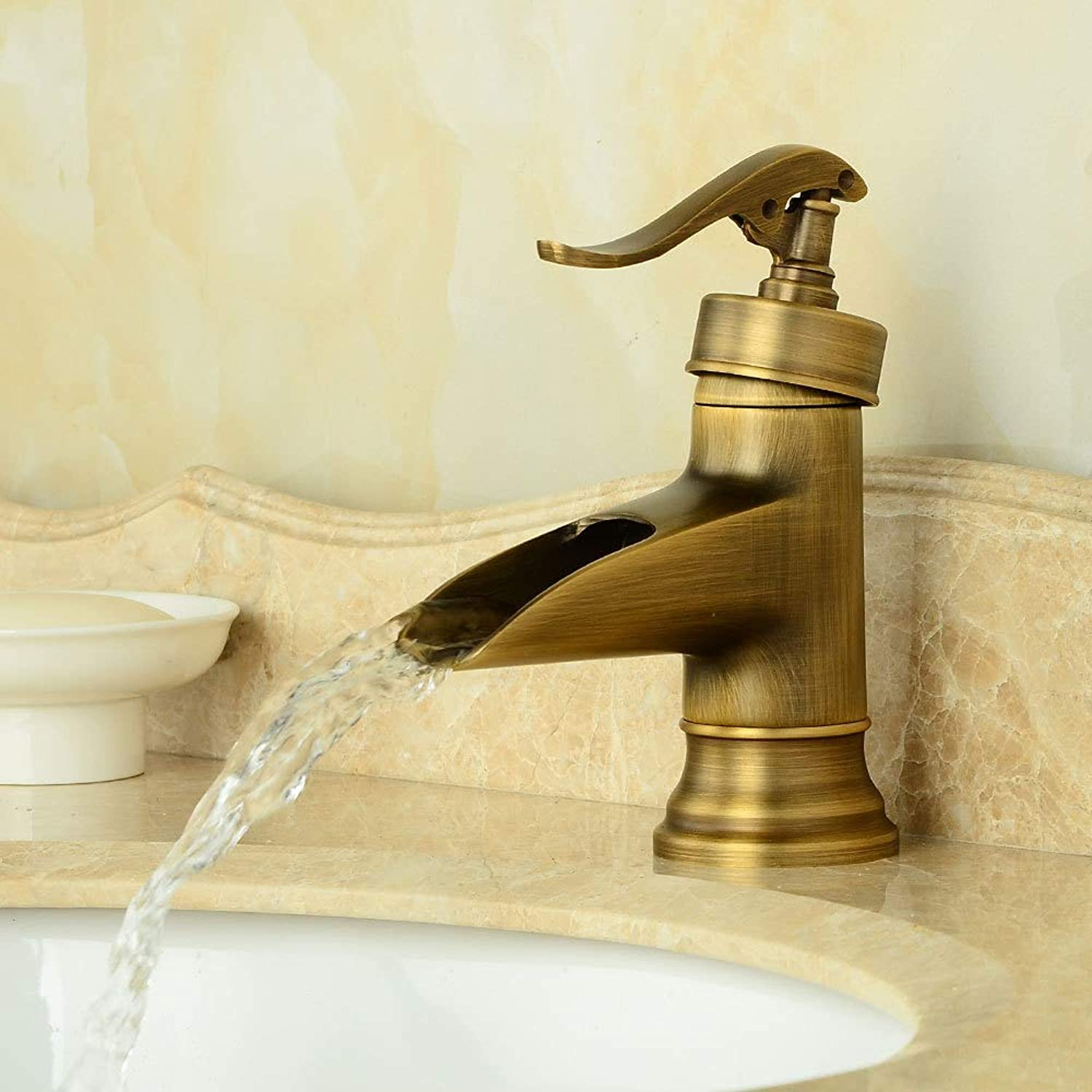 Bathroom Sink Basin Lever Mixer Tap Face Basin Cold and Hot Water Faucet Face Basin Cold and Hot Water Faucet Bathroom Countertop Basin Faucet Retro Faucet
