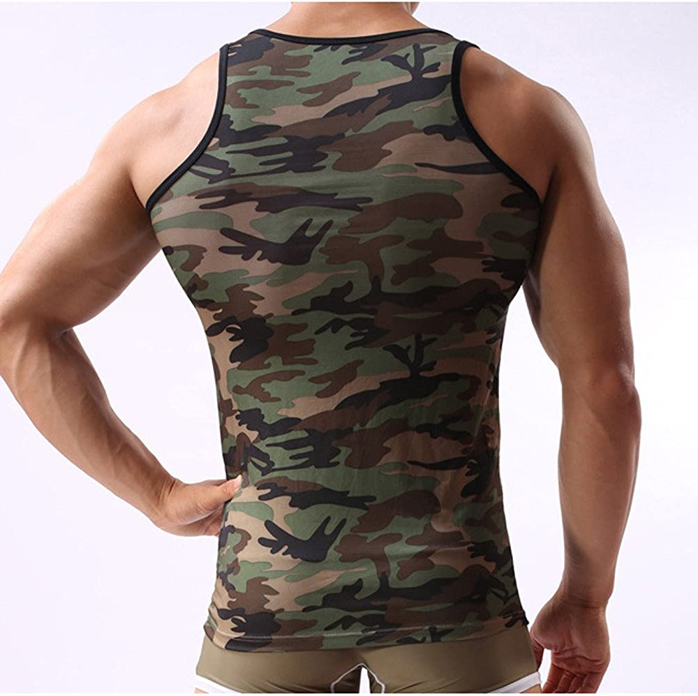 Summer Sport Top for Men Muscle Shirts Loose Athletic Camouflage Workout Vest