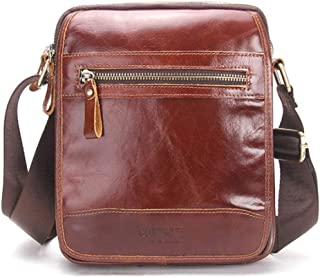 SHANGRUIYUAN-Bags Men's Simple Shoulder Bag Leather Casual Messenger Bag Fashion Leather Men's Bag (Color : Brown)