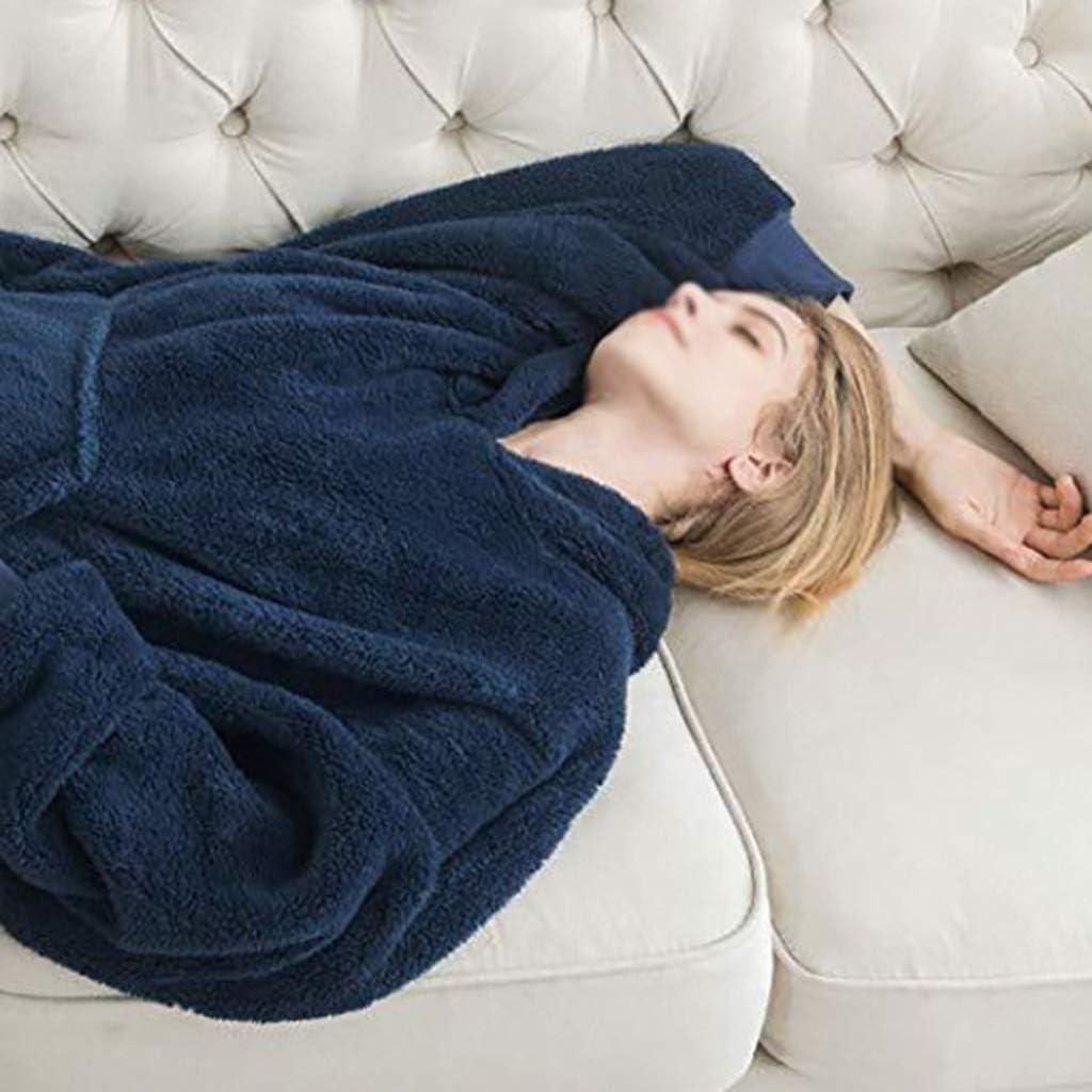 AYDQC Sweat à Capuche en Peluche d'hiver Le Sweat à Capuche surdimensionné pour Femmes Peut Porter Une Couverture et Un Sweat à Capuche en Laine à Manches (Color : A) A
