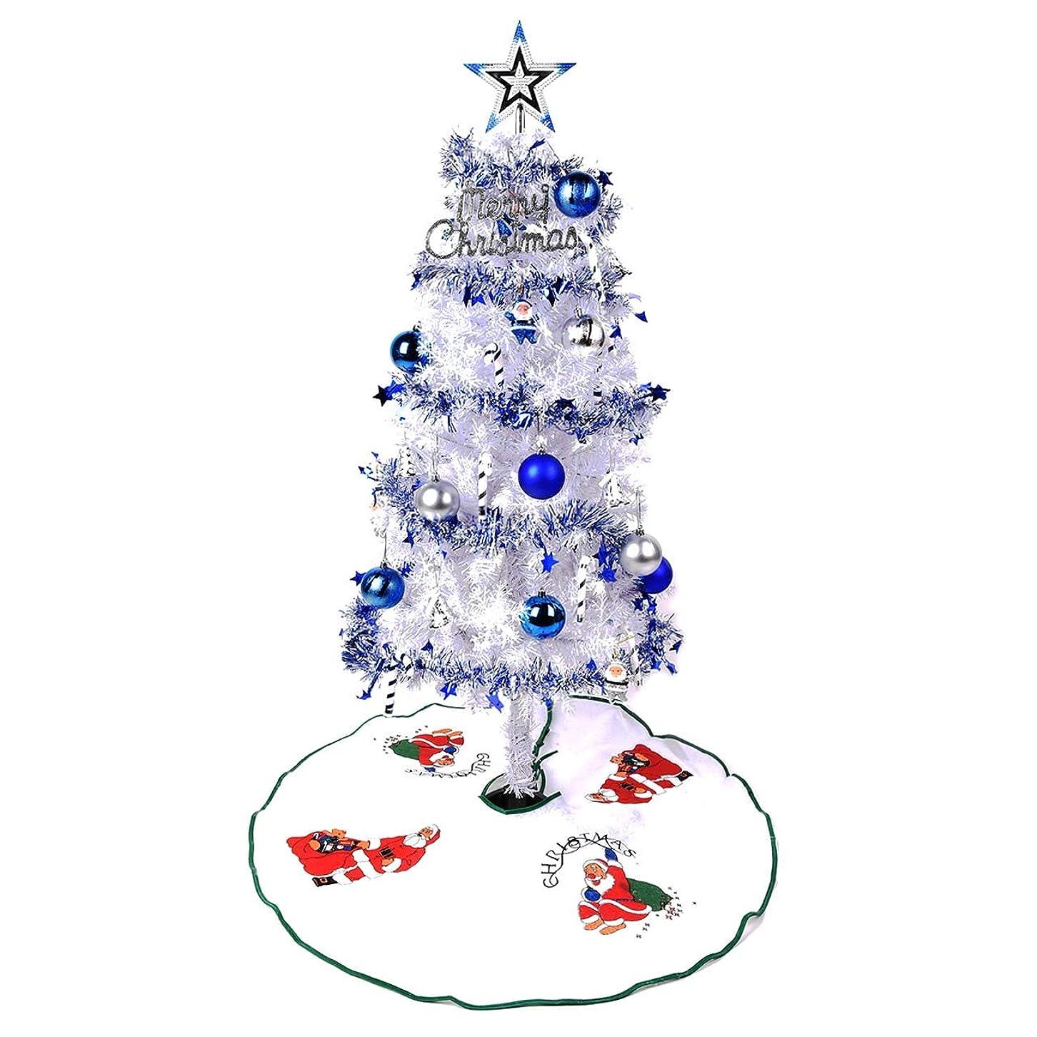 しなければならない難民やさしいクリスマスツリー 120cm 白ツリー 多色選べる White 収納袋 led 付 北欧 おしゃれ オーナメント セット クリスマス ツリー 店舗 家庭 用 cm18b 120cm白ツリー,青銀
