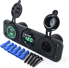 AOTOMIO Triple Function LED Car Digital Voltmeter & Dual USB Car Charger 5V up to 4.2A & 12V Outlet Power Socket Green LED Three Holes Panel Waterproof Cap (Applicable on car, Motorbike & Boat)