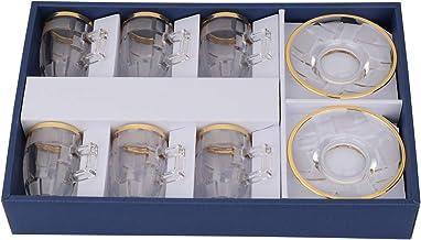 طقم فناجين شاي زجاج 12 قطعة من زين ,  GA3000/SB-GA