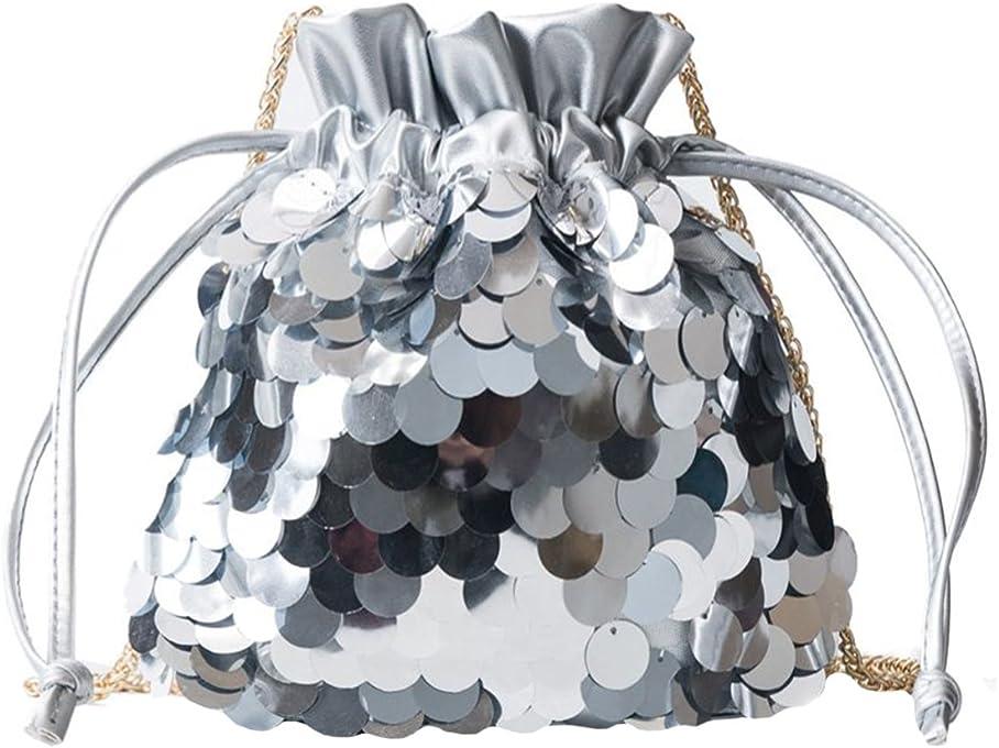 Danse Jupe Women Sequin Drawstring Bucket Bag Glitter Mini Shoulder Bag Crossbody Chain Purse