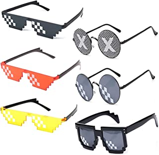[6 Pack] Thug Life Sunglasses, Men Women Glass 8 Bit Pixel Mosaic Glasses Photo Props Unisex Sunglass Toy - Black