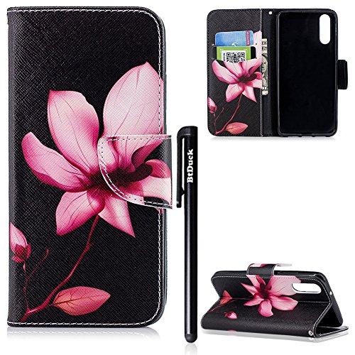 BtDuck Huawei P20 Hülle Leder Magnet Handyhülle Silikon Inner Bunten Muster Mädchen Brieftasche Stand Flip Case - Rosa Blume