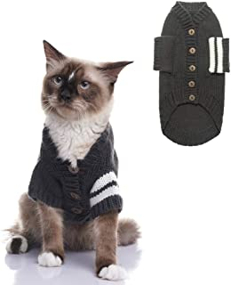 EXPAWLORER Cat Sweater for Cold Weather - Grey Knitted Outerwear Soft Pet Clothes Winter Outfit for Cat and Small Dog
