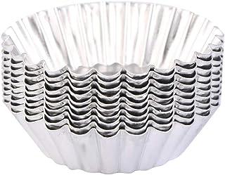 100Pcs Silver Color Chrysanthemum Style Egg Tart Mold, Egg Cups, Cupcake Mold, Aluminum Foil Egg Tart/Cake Baking Cup Hous...