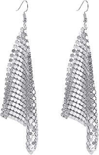 Trendy Women Earrings Metal Mesh Grid Sequins Tassel Long Drop Dangle Earrings