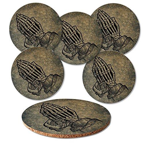 """'ADDIES Verre Set de 6 dessous de pièces """"têtes de morts présentée dans un coffret cadeau transparente et dos en liège rond 6 motifs. Design 2"""