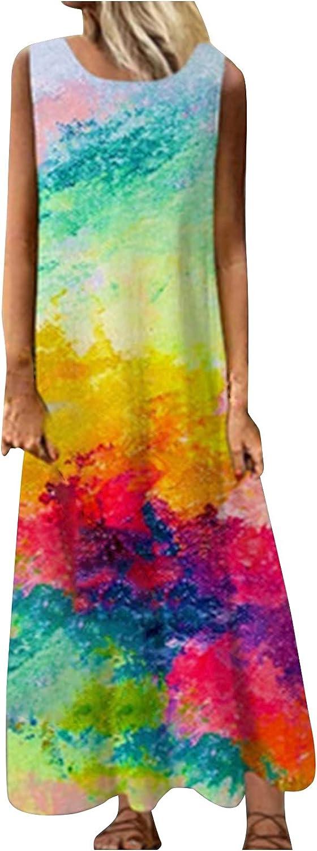 Casual Dresses for Womens Summer Maxi Dresses Loose Floral Sleeveless Tank Boho Long Dresses Beach Sundress