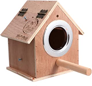 Birdcage-1pc Creative Pet Nest Wooden Breeding Box Practical Small Birds Nest Cage for Home Outdoor Decoration- Size M(Beige)