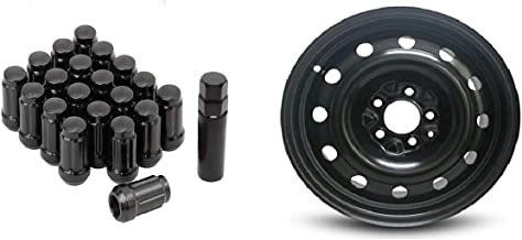 Bill Smith Auto Performance Replacement For Set of 4 Wheels W/Lug Nuts 16 Inch Steel Wheel Rim Dodge Caravan Chrysler Town & Country & 6 Spline 12 x 1.25mm Black Lug Nuts with Key
