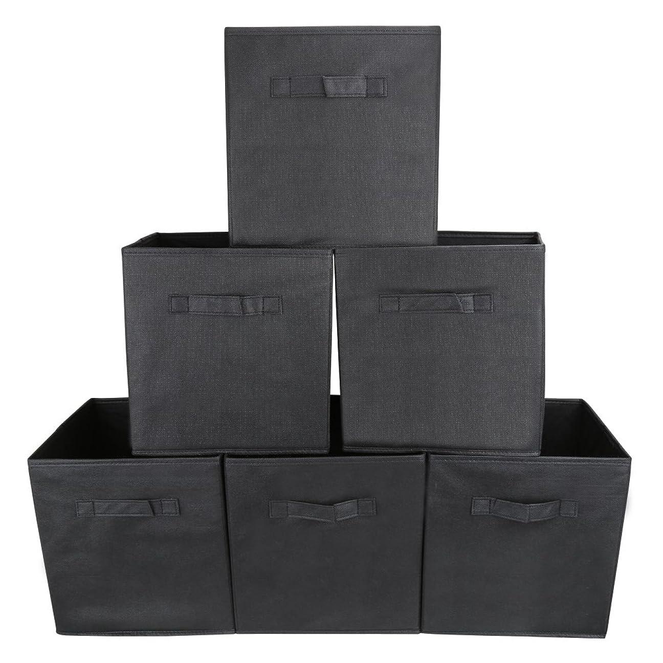 切断する大脳エジプト人EZOWare 衣類 ソックス おもちゃ収納ボックス 深型インナーボックス 不織布製 幅27x奥行27x高さ28cm 6個セット ブラック