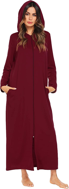Ekouaer Womens Zip Up Robe Sweatshirt Robe Long Hooded Robe Floor Length Bathrobe Long Sleeve House Coat Lounger with Pockets