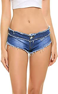 Romanstii Mini Shorts Denim Stretchable Cut Off Low Rise Waist Sexy Micro Jeans Hot Pants for Woman Girls Teen.