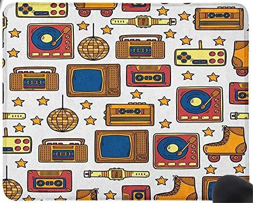 GBZlove Mauspad für Computer/Laptop, Motiv 90er Jahre, mit Oldstyle Recorder, Stereo, Fernsehen, Rollschuhe, elektronische Uhr, Gaming, Anti-Rutsch-Gummi