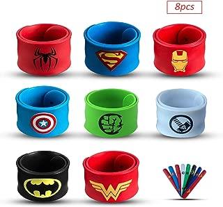 Sienon Superhero Slap Bracelets for Kids Party Favors-8 Pack Slap Bracelets-Superhero Prizes for Boys &Girls - Superhero Theme Party/Superhero Birthday Party/Christmas Halloween Party Favors Supplies