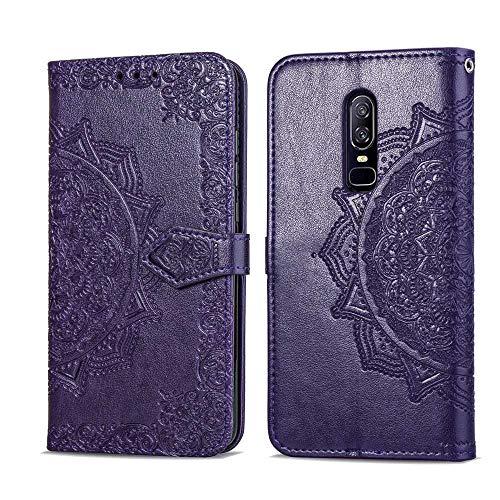 Bear Village Hülle für OnePlus 6, PU Lederhülle Handyhülle für OnePlus 6, Brieftasche Kratzfestes Magnet Handytasche mit Kartenfach, Violett