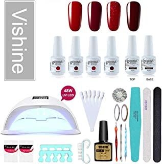 Vishine Gel Nail Polish Starter Kit No Wipe Top Base Cost 48W LED Nail Lamp & 4 Fabulous Colors Nail Art Tools,Nail Salon Home Gel Manicure #07