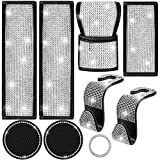 9 Pieces Bling Diamond Car Accessories Rhinestones Car Seat Belts Cover Car Backseat Hooks Silicone Rhinestone Car Coasters Auto Handbrake Cover Shift Gear Cover Bling Start Button Ring for Car Decor