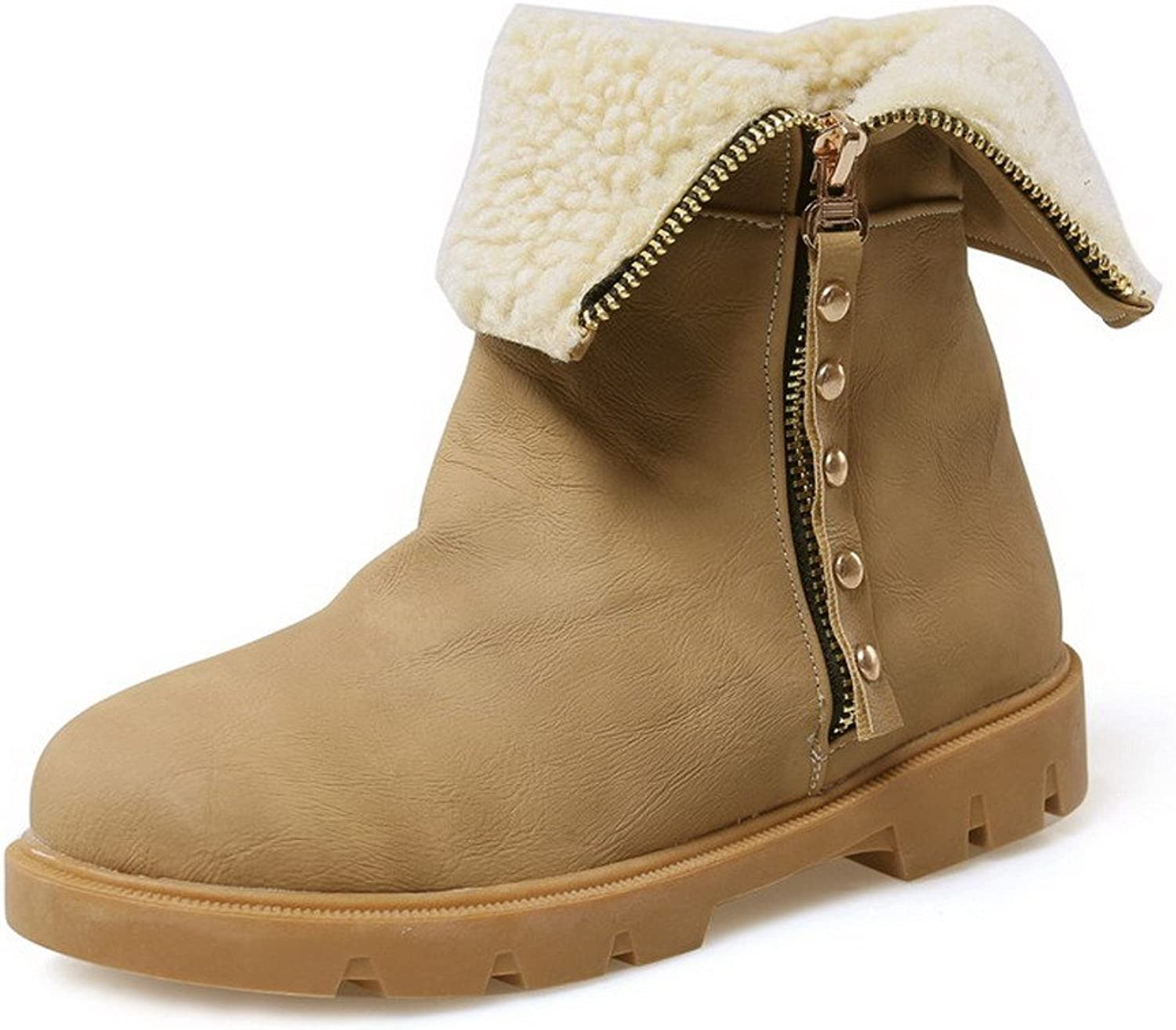 WeenFashion Women's Low-Top Zipper Soft Material Low-Heels Round Closed Toe Boots