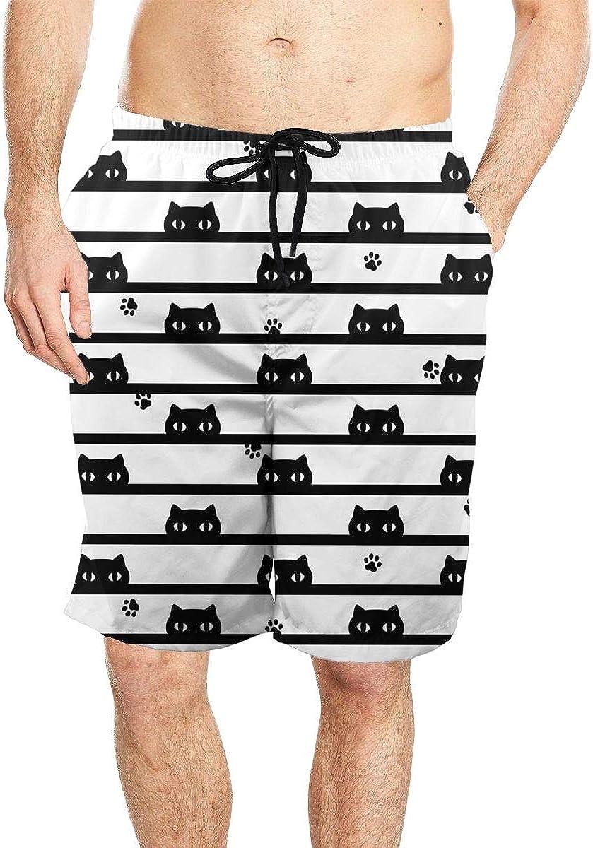 DASMUS Kitten Cat with Paw Footprint Men Drawstring Beach Board Shorts Swim Trunks with Mesh Lining
