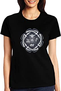 Ilvermorny School of Witchcraft and Wizardry Crest Women's Crew Neck T-Shirt Short Sleeve Tees Print Tops