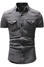 desolateness Mens Short Sleeve Denim Shirts Casual Slim Fit Button Down Dress Shirt