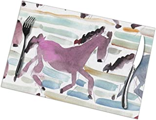 xulih Table Mat Racing Horses Dining Placemats Set of 6 Kitchen Table Place Mats 12X18 inch for Dining Table