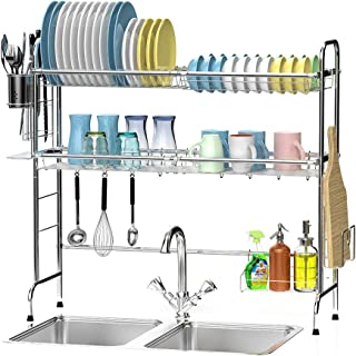 Over The Sink Dish Rack, Ace Teah Large Dish Drying Rack with Utensil Holder Hooks