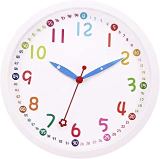 Lucor Kids Wall Clock, Silent Non Ticking - 12 Inch Decorative Colorful Battery Operated Round Easy To Read Clock for Classroom, School, Playroom, Nursery Room, Home (White)