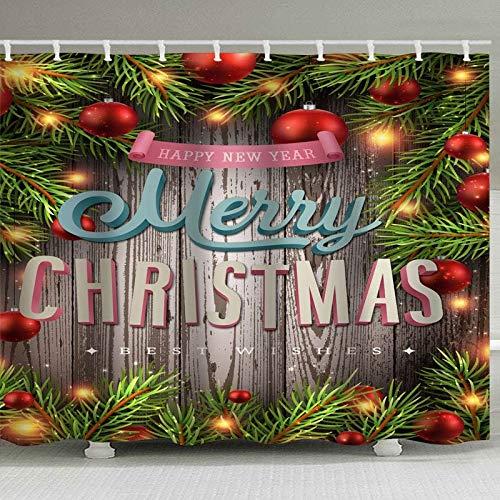 N / A Weihnachtsduschvorhang Holzbrett Lampe Schneeflocke Lampe Weihnachtsmann Schneemann Elch Ballon Muster Neujahr Atmosphäre Dekoration wasserdicht & schimmelresistent Duschvorhang A5 90x180cm