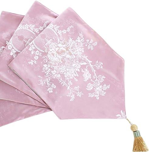 Unbekannt Blume Sprachtisch Flagge Chenille Karte Gericht Mode Einfache Nordic Kaffee Bett Hochzeit Hotel Bankett Dekoration 3 Farben 30 cm  140 cm MUMUJIN (Farbe   Light Rosa, Größe   270cm)