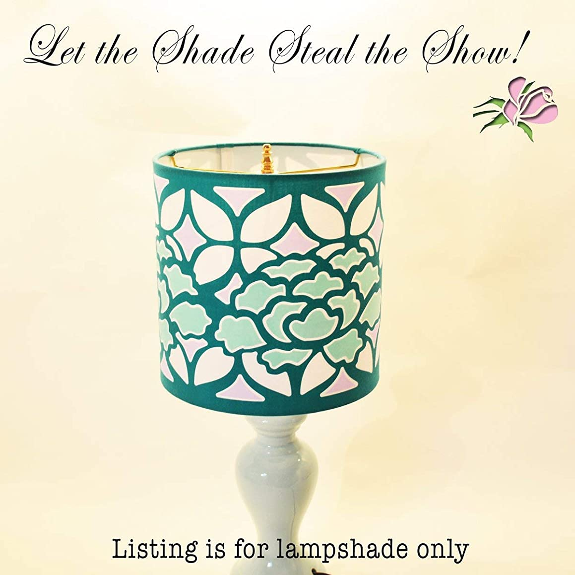 8 inch Teal or Turquoise Fabric Drum Lampshade Featuring Green Peony flowers and lavender Lattice Designed to Look Like Stained Glass