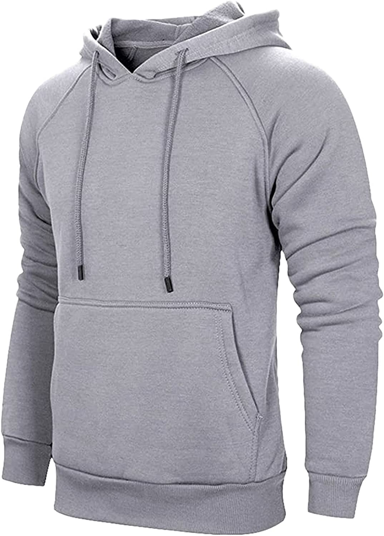 HONGJ Hooded Sweatshirts for Mens, Fall Long Sleeve Casual Loose Hoodies Fashion Slim Fit Drawstring Solid Pullover Tops