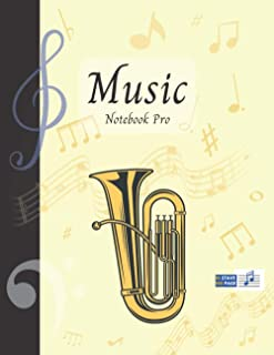 Music Notebook Pro With Instrument - Tube | Advanced 10 Staves Interior With Educational Materials: Music Manuscript Paper...