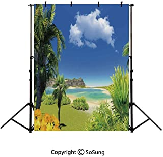 10x20Ft Vinyl Tropical Backdrop for Photography,Paradise Beach with Palm Trees in Exotic Island Happiness Coastal Charm Image Background Newborn Baby Photoshoot Portrait Studio Props Birthday Party Ba