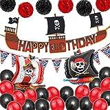 Decoraciones de Fiesta de Cumpleaños Pirata, BESTZY Globos de Aluminio Globos Rojos y Negros Artículos de Fiesta Pirata para Decoración de Fiesta de Cumpleaños Infantil