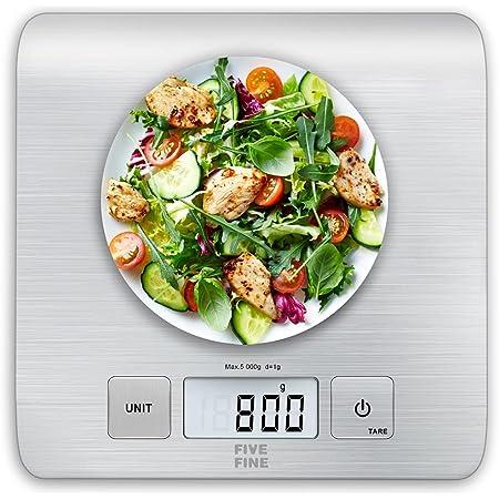 FiveFine BásculadeCocina Grande, Balanza Cocina de Acero Inoxidable, Peso Cocina Digital con Alta Precisión, Balanza de Alimentos Multifuncional, con Pantalla LCD, Color Plata (Baterías Incluidas)