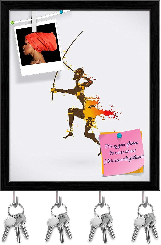 Artzfolio Traditional Ritual Dance D3 Key Holder Hooks   Notice Pin Board   Black Frame 16 X 19.3Inch